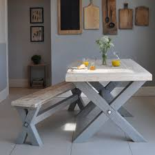 handmade dining room furniture uk. handmade painted cross leg dining table and bench finished tops in lime wash room furniture uk e
