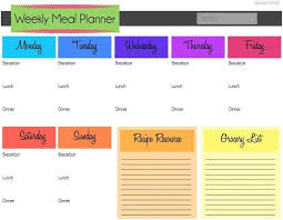 family menu template monthly menu template