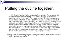 the four paragraph essay ppt video online 8 putting the outline together my favorite season