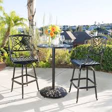 patio bar height furniture set outdoor bistro table chairs aluminum rustic 3 pcs