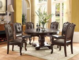 crown mark 2150 60 5pc 5 pc kiera dark finish wood round dining table set with faux leather seats