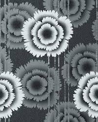 Retro Behang Bloemen Design Edem 056 20 Behangpapier Zwart Wit