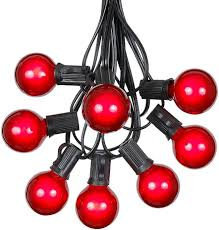 Red Globe String Lights G40 Patio String Lights With 25 Red Globe Bulbs Hanging Garden String Lights Vintage Backyard Patio Lights Outdoor String Lights Market Cafe