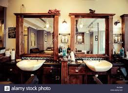 men's barber shop retro styled interior design stock photo