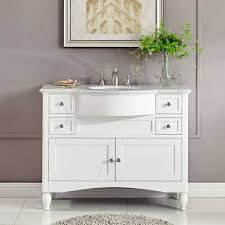 Modern single sink bathroom vanities Teak 45inch White Marble Top Bathroom Vanity Modern Single Sink Bath Cabinet 0289w Ebay 45