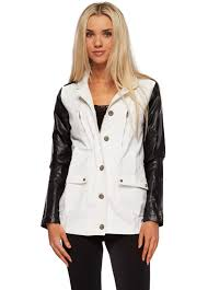 white cotton jacket with faux leather sleeves