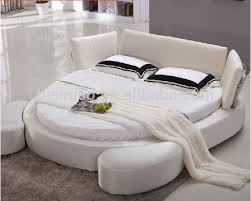 Modern Simple White Fabric Round Bed, Double Bed, Bed Room Furniture
