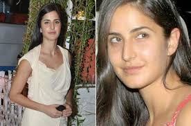 it is hard to make out if katrina is without makeup her skin naturally glows and that is one reason that she looks good with or without makeup