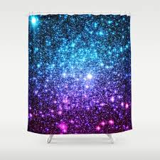 glitter galaxy stars turquoise blue purple hot pink ombre shower curtain