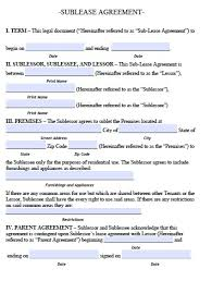 Sample Sublease Agreement Sublease Agreement Sample Free Printable Documents
