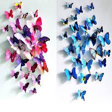 Small Picture 12Pcs 3D Butterfly Wall Sticker Fridge Magnet Home Decor Art