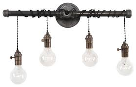 Image Wall Sconce West Ninth Vintage Bathroom Vanity 4light Houzz West Ninth Vintage Bathroom Vanity 4light Industrial Bathroom