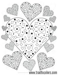 Flower Mandala With Hearts Coloring Page For Valentines Heart Pages