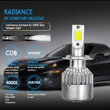 Coolfox 2pcs Car Lights C6 Led H4 H1 H3 H11 H13 Hb4 Hb3 9005 9006 880 H7 Led Bulbs Light 12v Lamp Auto Headlight 8000lm 6000k
