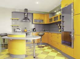 Yellow Paint For Kitchen Walls Kitchen Dazzling Yellow Kitchen With Checkerboard Tiles And