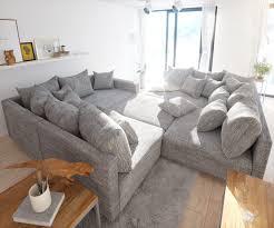 Couch Clovis Xl Hellgrau Strukturstoff Mit Hocker Und