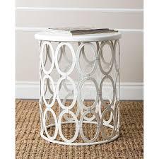 abbyson living vista white iron circles round end table