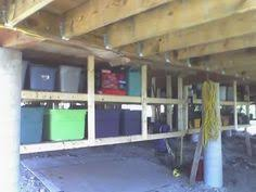 Perfect Storage Idea For Crawlspace Just Build Shelving From Floor Beams Crawl Space I11