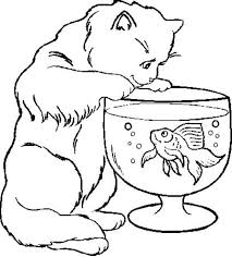 Small Picture Cat Trying to Catch Fish in Fish Bowl Coloring Page Download