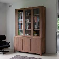 Brown Wooden Books Shelves With Three Shelves And Glass Doors Combined With  Storage On The Bottom