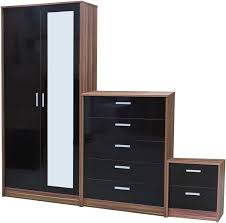 Trio Black High Gloss  Walnut Frame  Piece Bedroom Furniture Set - Black and walnut bedroom furniture