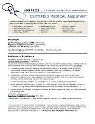 Sample Resume For Certified Medical Assistant Free Resume