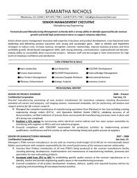 Executive Resume Senior Management Executive Manufacturing Engineering Resume 80