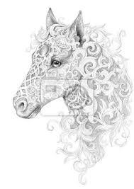 Fototapeta Tattoo Beautiful Horse Head With A Mane