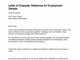 Employment Letter Example Gorgeous Example Of Reference Letters For Employment Gorgeous General