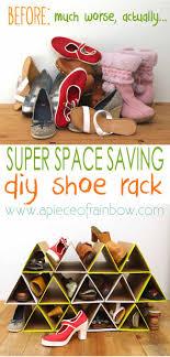 Space Saving Shoe Rack Super Space Saving Diy Shoe Rack A Piece Of Rainbow