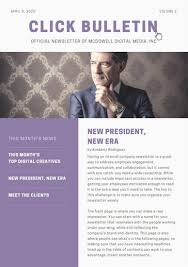 Employee Newsletter White And Purple Employee Newsletter Templates By Canva