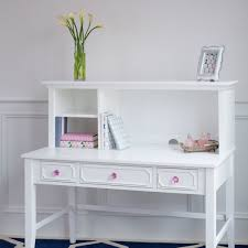 white desk with hutch and detailed drawer fronts pink crystal accents craftbedrooms