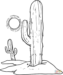 Small Picture Sun over Desert Cactuses coloring page Free Printable Coloring Pages