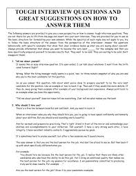 Interview Question Examples Tough Interview Questions And Great Suggestions On