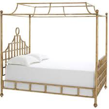 Atlas Canopy Metal Bed Gold Finish Pine Cone Hill