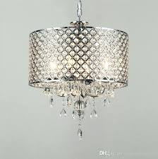 modern contemporary chrome color round crystal pendant light drum chandelier hanging lighting fixture for dinning room