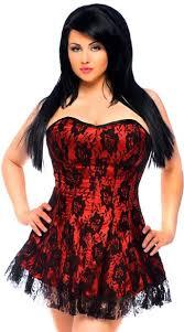 Plus Size Lavish Red Lace Corset Dress Red Corset Dress