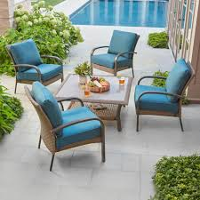 hampton bay corranade piece wicker patio conversation set with