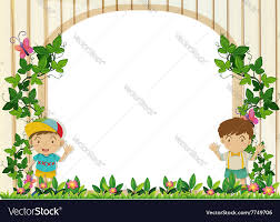Small Picture Border design with boys in the garden Royalty Free Vector