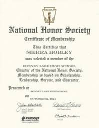 best honor societies images honor society  national honors society essay national honor society certificate of membership sierra hobley