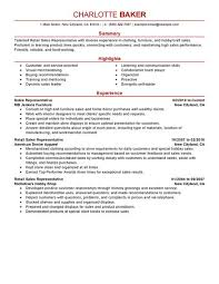Rep Retail Sales resume example