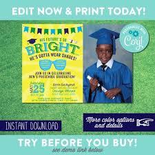 Preschool Graduation Announcements Preschool Graduation Invitation Boy Kindergarten Graduation Future Is So Bright Gotta Wear Shades Instant Download Edit Yourself