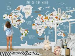 world map wall mural children map with