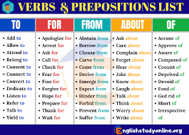 Verbs And Prepositions A Huge List Of 145 Verb Preposition
