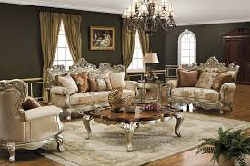 vintage living room furniture fancy crystal chandelier in green gold ceiling brown lacquered wood trunk table