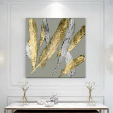 2019 <b>Laeacco Canvas Painting Calligraphy</b> Nordic Golden Feathers ...