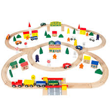 best choice products 100 piece kids hand crafted wooden toy play train track set w triple loop railway multicolor com