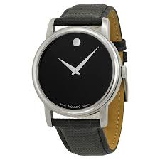 movado museum black dial black leather strap men s watch 2100002