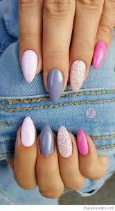 Stiletto Nails With Blue And Pink Nails Uñas De Gel Uñas