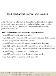 Resume Helper Free Top 8 Mechanics Helper Resume Samples